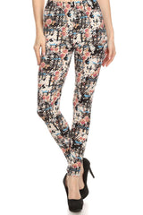 Women's Regular Floral Pattern Print Stretchable Leggings - Black Red Blue