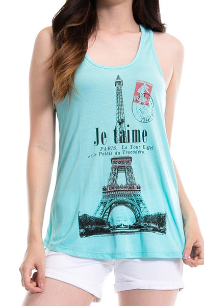 Women's Regular Je taime French Graphic Print Tank Tops