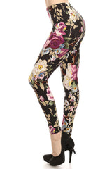 Women's Regular Big Floral Print Leggings with Elastic Waist - Black Purple