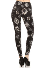 Women's Regular Square Pattern Print Leggings with Elastic Waist - Black White
