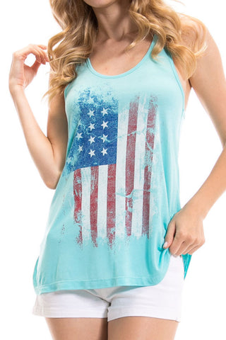 Women's Regular Vertical American Flag Graphic Print Tank Tops