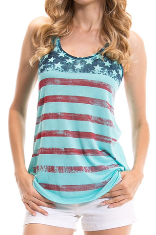 Women's Regular Big Stripes American Flag Graphic Print Tank Tops