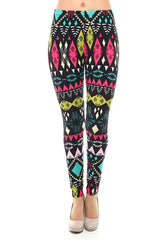 Women's Regular Tribal Pattern Print Leggings - Black Yellow Fuchsia
