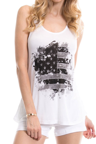 Women's Regular Painted USA Flag Printed Tank Tops