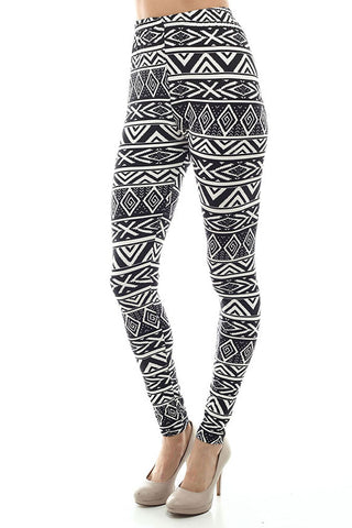 Women's Regular American Indian Navajo Pattern Print Leggings - White Black