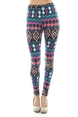 Women's Regular Dark Mixed Color Navajo Pattern Print Leggings - Black Purple Green