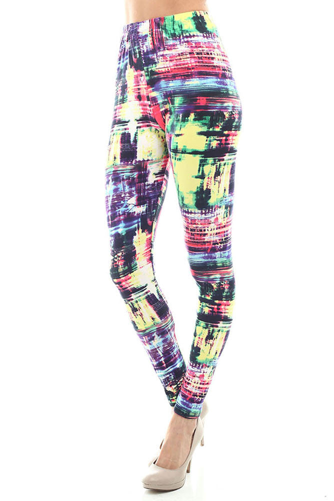 Women's Regular Abstract Pattern Print Leggings - Red Yellow Purple