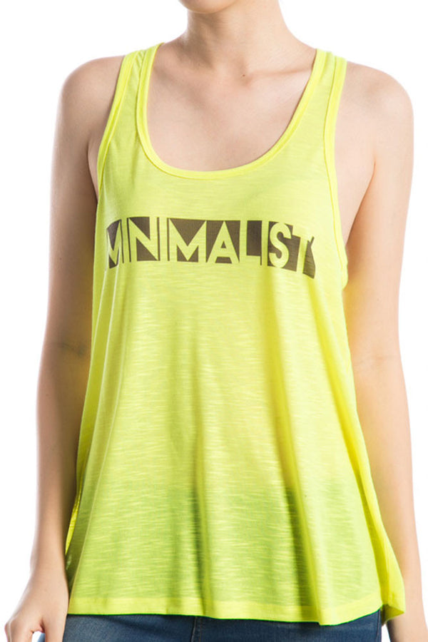 Women's Regular Minimalist Print Sleeveless Slub Tank Top