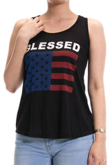 Women's Regular Blessed American Flag Red & Blue Printed Tank Tops