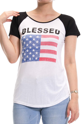 Women's Regular Blessed American Flag Red & Blue Graphic Print Raglan Tops