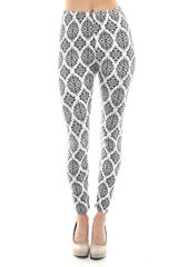 Women's Regular Petal Shape Pattern Print Leggings - White Black