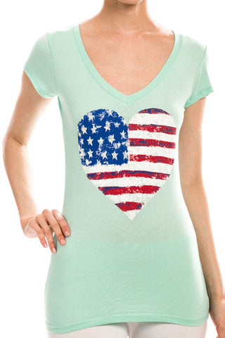 Women's Regular American Patriotic Flag Heart Print Short Sleeve Tee