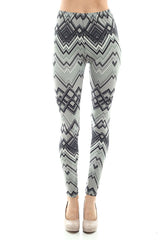 Women's Regular Tribal and Peaked Pattern Print Leggings - Grey Black