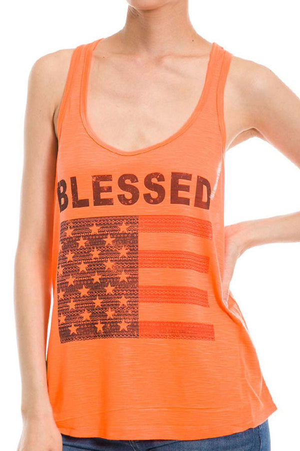 PLUS 4th of July Blessed American Flag Womens Polyester Sleeveless Slub Tank Top