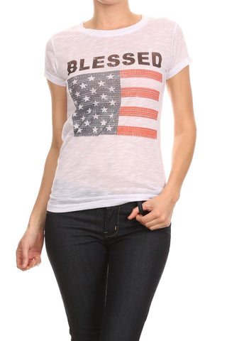 Women's Regular Blessed Graphic with an American Flag Print Top