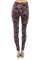 Women's Regular Red Paisley Pattern Print Leggings - Black Red - One Size / Black Red