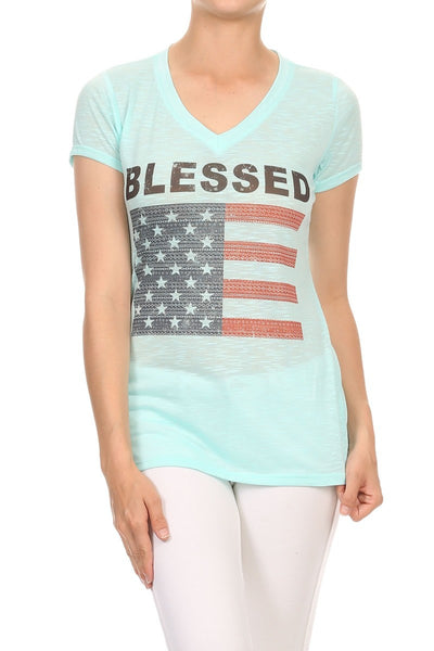 Women's Regular Blessed with an American Flag slub knit Tee with a v neck
