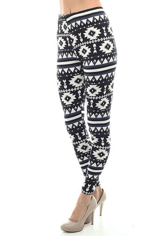 Women's Regular Navajo and Stripe Pattern Print Leggings - Black White