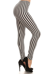 Women's Regular Vertical Striped Pattern Print Leggings - White Black - One Size / White Black