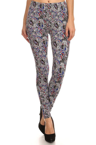 Women's Regular Colorful Abstract Flower Pattern Print Leggings - Black Blue Red