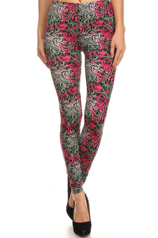 Women's Regular Ornate Flame Pattern Print Leggings - Grey Pink Green
