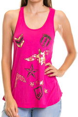 Women's Regular Army  Print Detailed Tank Top with a racerback and a scoop neck