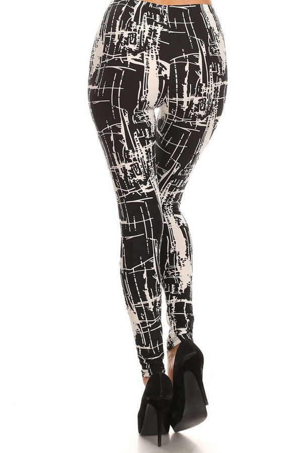 Women's Regular Abstract Line and Brush Paint Pattern Print Leggings - Black White