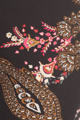 Women's Regular Ornate Big Flower Pattern Print Leggings - Black Pink