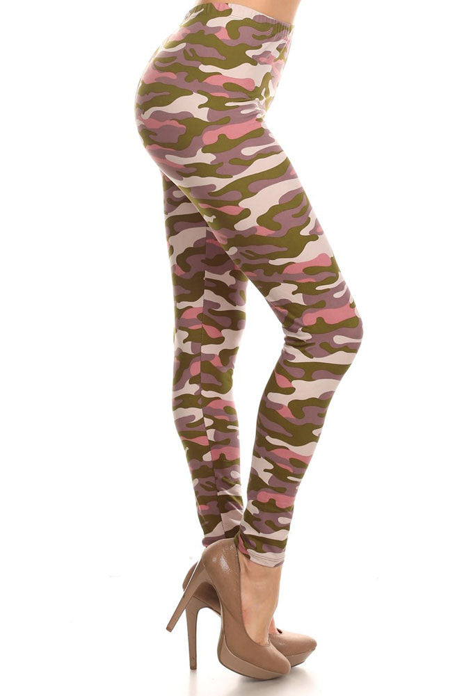 Women's Regular Army Camouflage Pattern Print Leggings - Olive Pink Purple