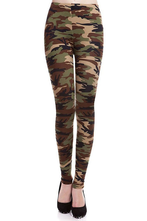Women's Regular Light Military Camouflage Pattern Print Leggings - Olive Maroon Black
