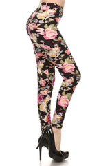 Women's Regular Rose and Stem Pattern Print Leggings - Black Fuchsia Green