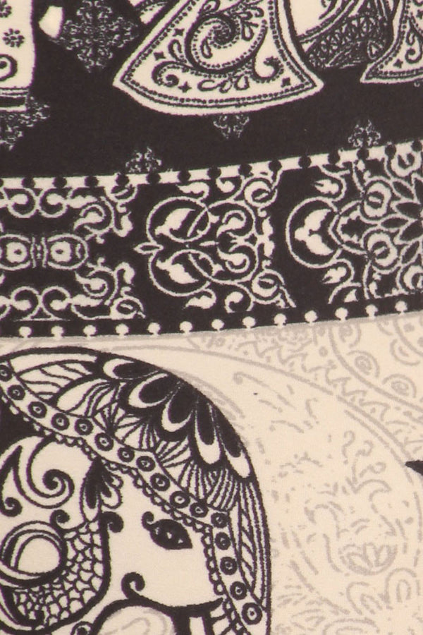 Women's Regular Oriental Elephant Pattern Print Leggings - Black White