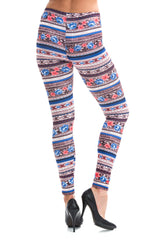 Women's Extra PLUS Beautiful Floral Pattern Print Leggings - Pink Small