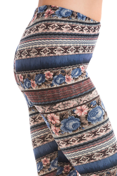Women's Extra PLUS Beautiful Floral Pattern Print Leggings - Brown Khaki Small