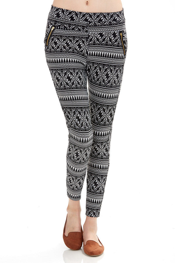 Women's Regular Black and White Lattice Pattern Leggings
