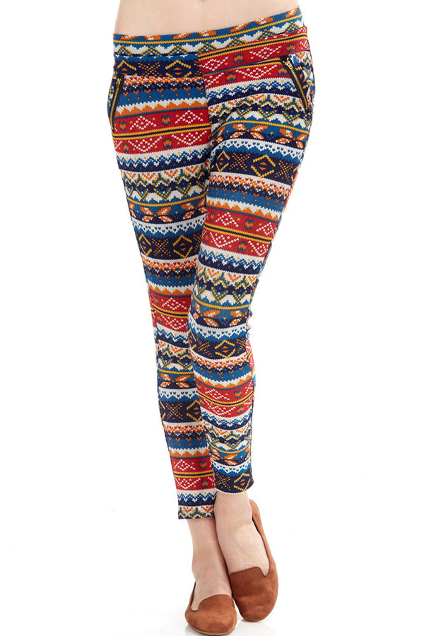 Women's Regular Southwest Multi Colored Print Leggings