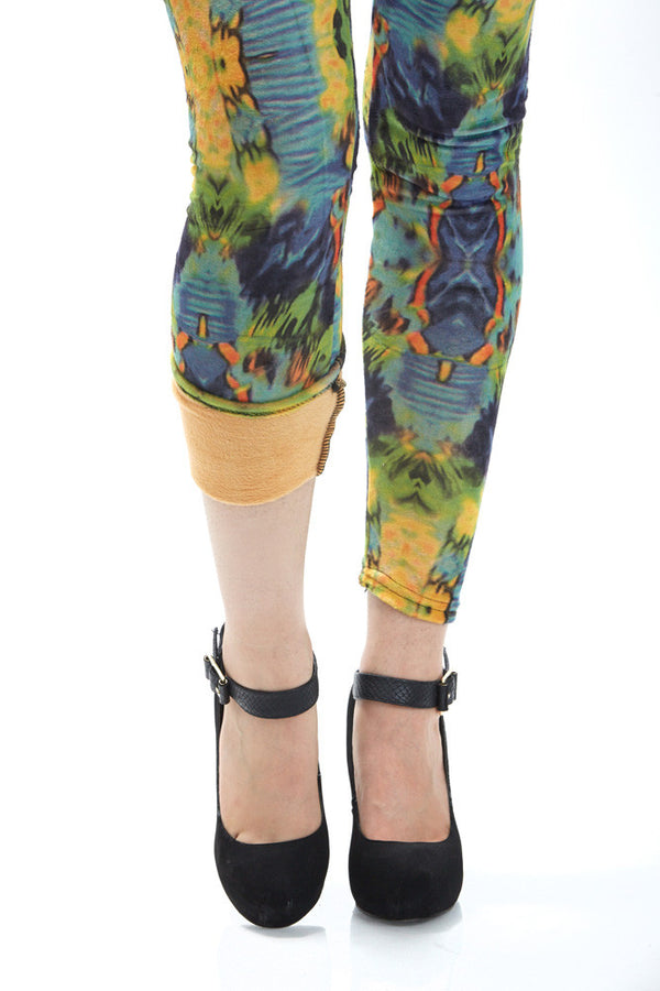 Women's Regular Blue Reflection Pattern Leggings