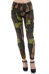 Women's Regular Dark Tone Tile Pattern Leggings