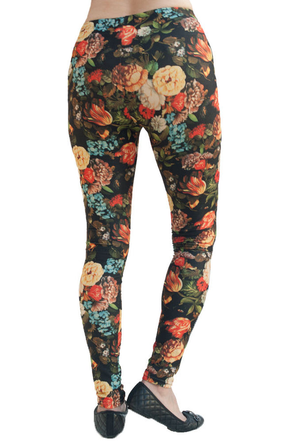 Women's Plus Beautiful Floral Pattern Leggings