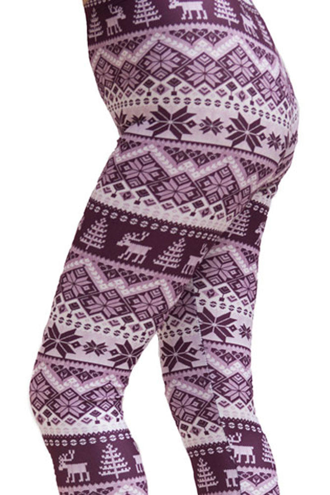 Women's Plus Purple Reindeer Design Printed Leggings