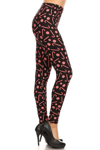 Women's PLUS Christmas Candy Cane Pattern Printed Leggings