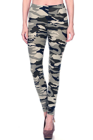 Women's Plus Camouflage Military Look Pattern Printed Leggings - Lt Grey Charcoal