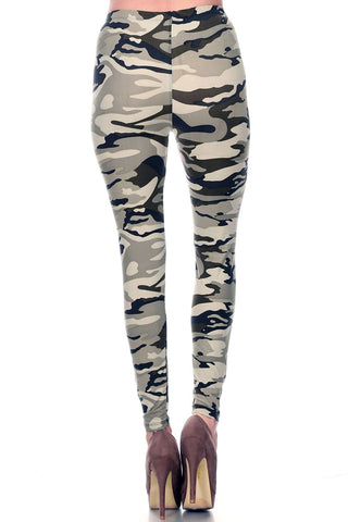Women's Regular Camouflage Military Look Pattern Printed Leggings - Lt Grey Charcoal