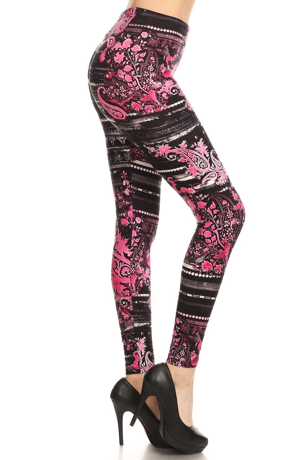 Women's Regular Pink Paisley Floral Pattern Printed Leggings