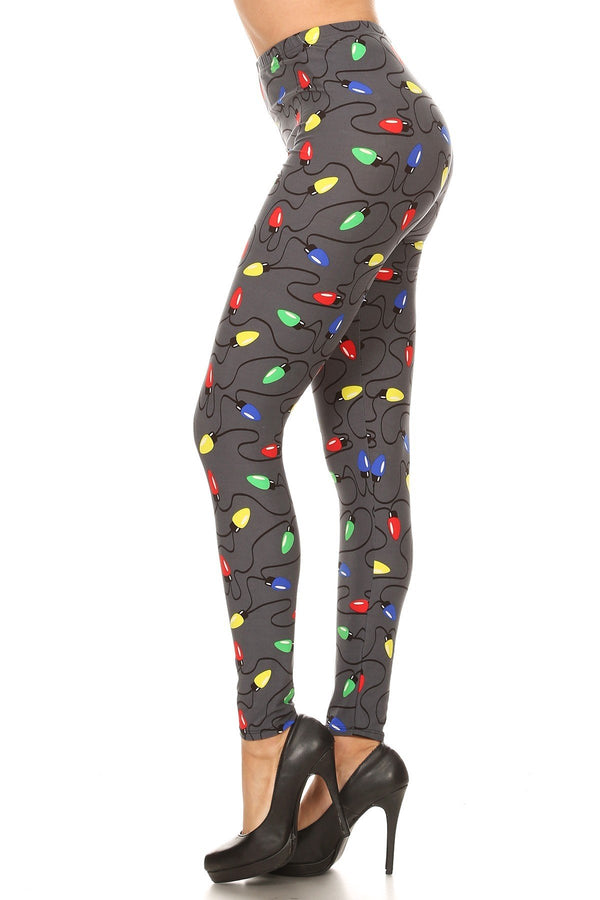 Women's 3X 5X Christmas Light Pattern Printed Leggings