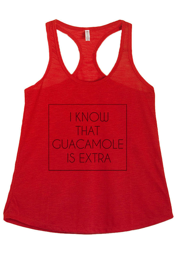 Women's PLUS I Know that Guacamole is Extra Printed Graphic Polyester Tank Top