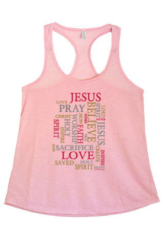 Women's Religious Words Graphic Print Polyester Tank Tops for Regular and PLUS - Small ~ 3XL