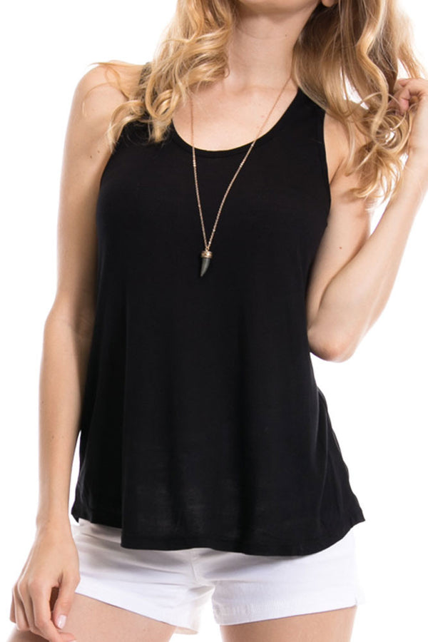Women's Regular Solid Color Scoop Neck and Racerback Tank Tops