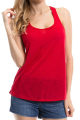 Women's Regular Solid Color Sleeveless Slub Knit Tank Top