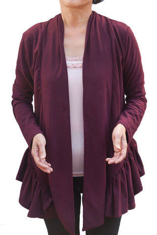 Women's Plus Solid Bottom Pleated Deco Cardigans